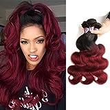 "Racily Hair Ombre Brazilian Body Wave 3 Bundles 10 12 14 16 18 20 22 24 26 Inches Dark Red 1B/Burgundy Brazilian Hair Human Hair Weaving (14""16""18"")"