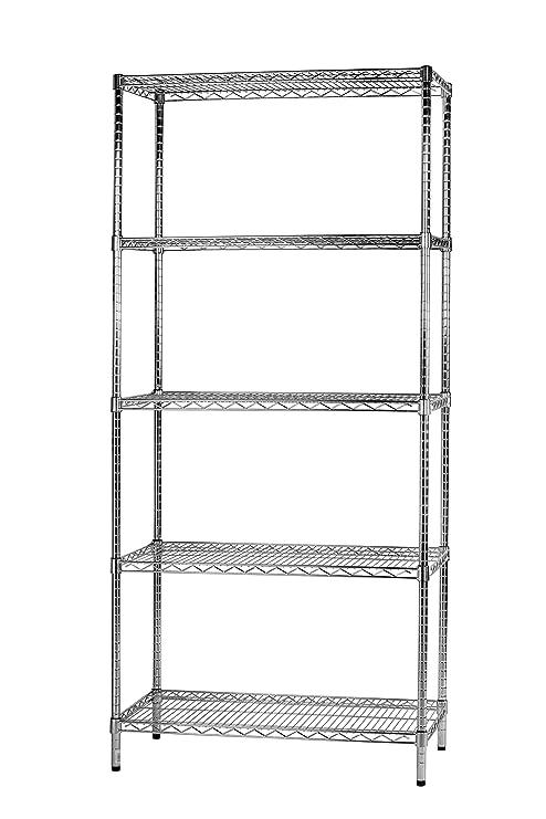 Sistema Componibile Scaffali.Archimede Sistema Componibile Scaffale Cinque Ripiani Grigio Cromato 91 X 46 X 200 Cm