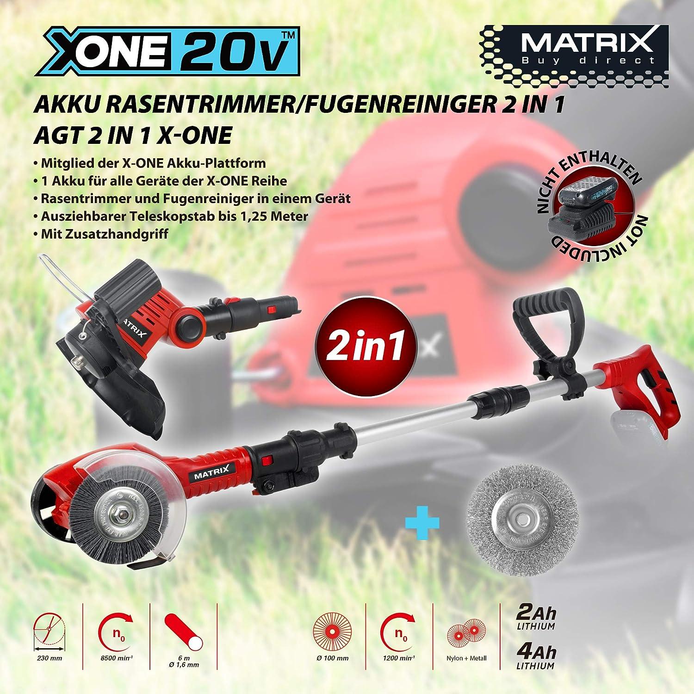 Schwarz Rot Matrix 511010591 20 Volt 2 in1 Rasentrimmer Fugenreiniger AGT 2 IN 1 X-ONE