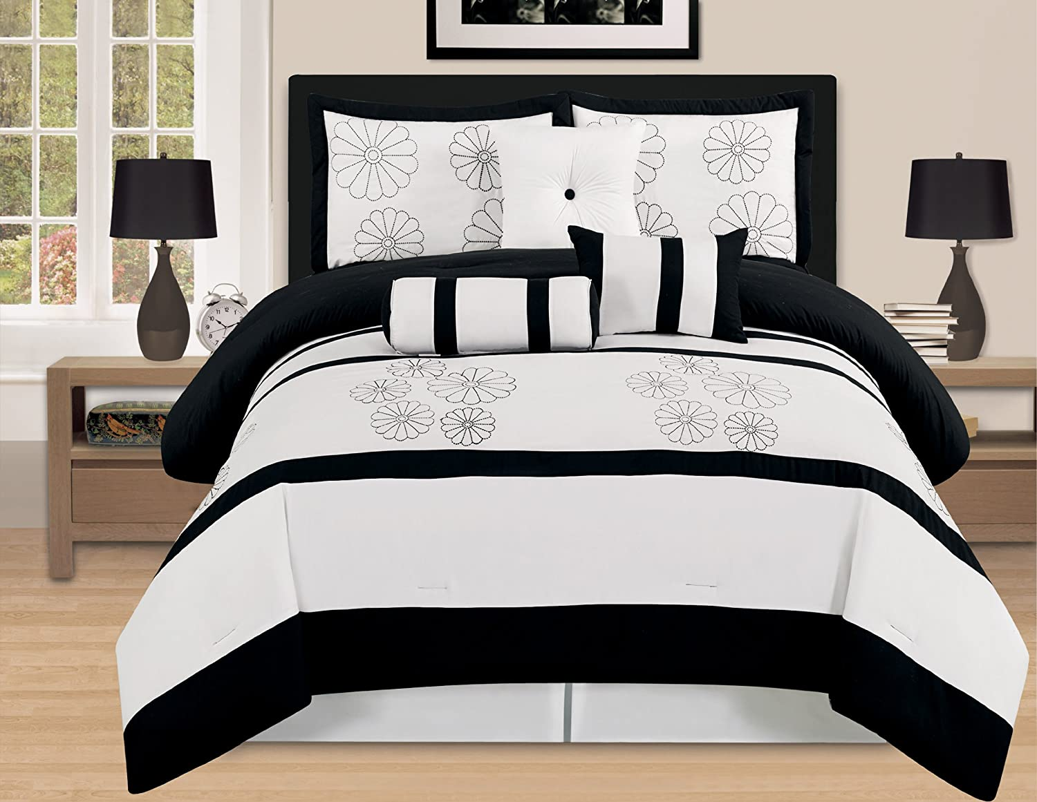 7 Pieces Luxury Embroidery Comforter Set Bed-in-a-bag King (102\x92\) Size Bedding (Black/White) Ahf