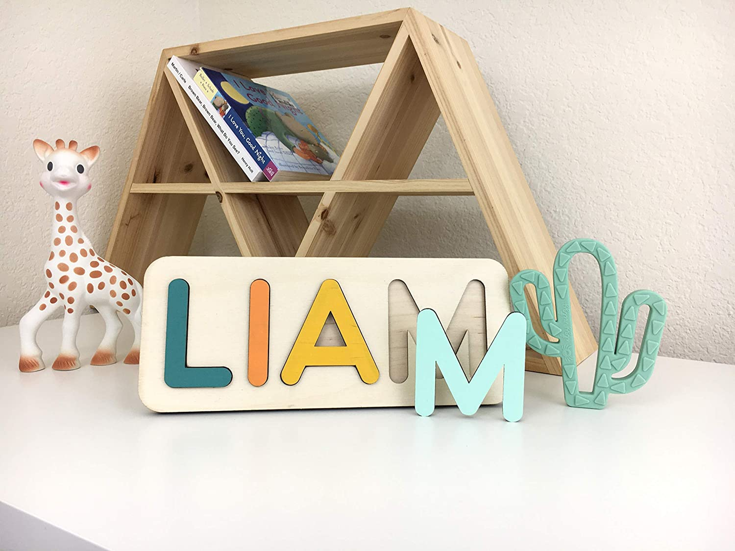 Personalized Name Puzzle 1 year old girl gift Wooden Toy Games Son Pattern dots New Baby Gift Boy lines stars Birthday Montessori toys