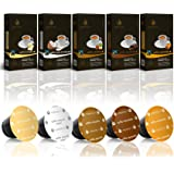 Gourmesso Flavor Bundle - 50 Nespresso Compatible Coffee Capsules - 100% Fair Trade | Includes Vanilla Caramel Chocolate Hazelnut Coconut Flavored Espresso Variety Pack