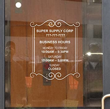 Amazoncom Custom Store Busines Office Hours Vinyl Window Glass - Window stickers for business hours