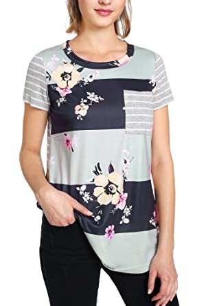SheIn Women s Casual Floral Print Striped Short Sleeve T-shirt Tops with  Pocket X- a4aa0a19a