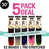 "Spetra Innocence EZ Braid Professional (Pre-Stretched Braid) 20"" 5 Pack (Color T1B/350)"