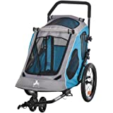 Aosom Dog Bike Trailer 2-in-1 Pet Stroller Cart Bicycle Wagon Cargo Carrier Attachment for Travel with 360 Swivel Wheel Refle