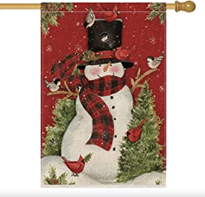 AVOIN Snowman with Buffalo Plaid Scarf House Flag Vertical Double Sized, Winter Holiday Christmas Yard Outdoor Decoration 28 x 40 Inch