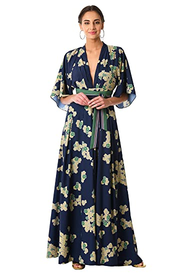 9cde553b624 eShakti Women s Plunge floral print crepe jumpsuit UK Size 04 Regular  height Deep navy