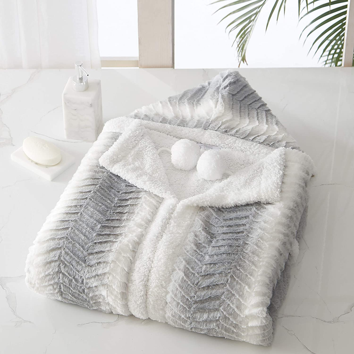 """Chic Home Massimo Snuggle Hoodie Two Tone Wavy Animal Pattern Robe Cozy Super Soft Plush Coral Fleece Sherpa Lined Wearable Blanket 2 Pockets Hood Drawstring Button Closure, Grey-White 51"""" x 71"""""""