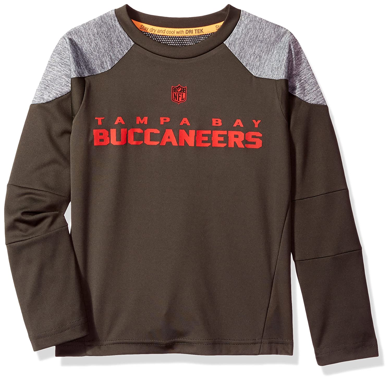 Outerstuff NFL Boys 4-7Gamma Long Sleeve Performance Tee-Pewter-L Tampa Bay Buccaneers 7