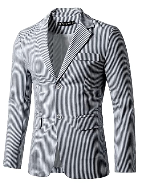 uxcell Men Notched Lapel Single Breasted Slim Fit Stripes Blazer