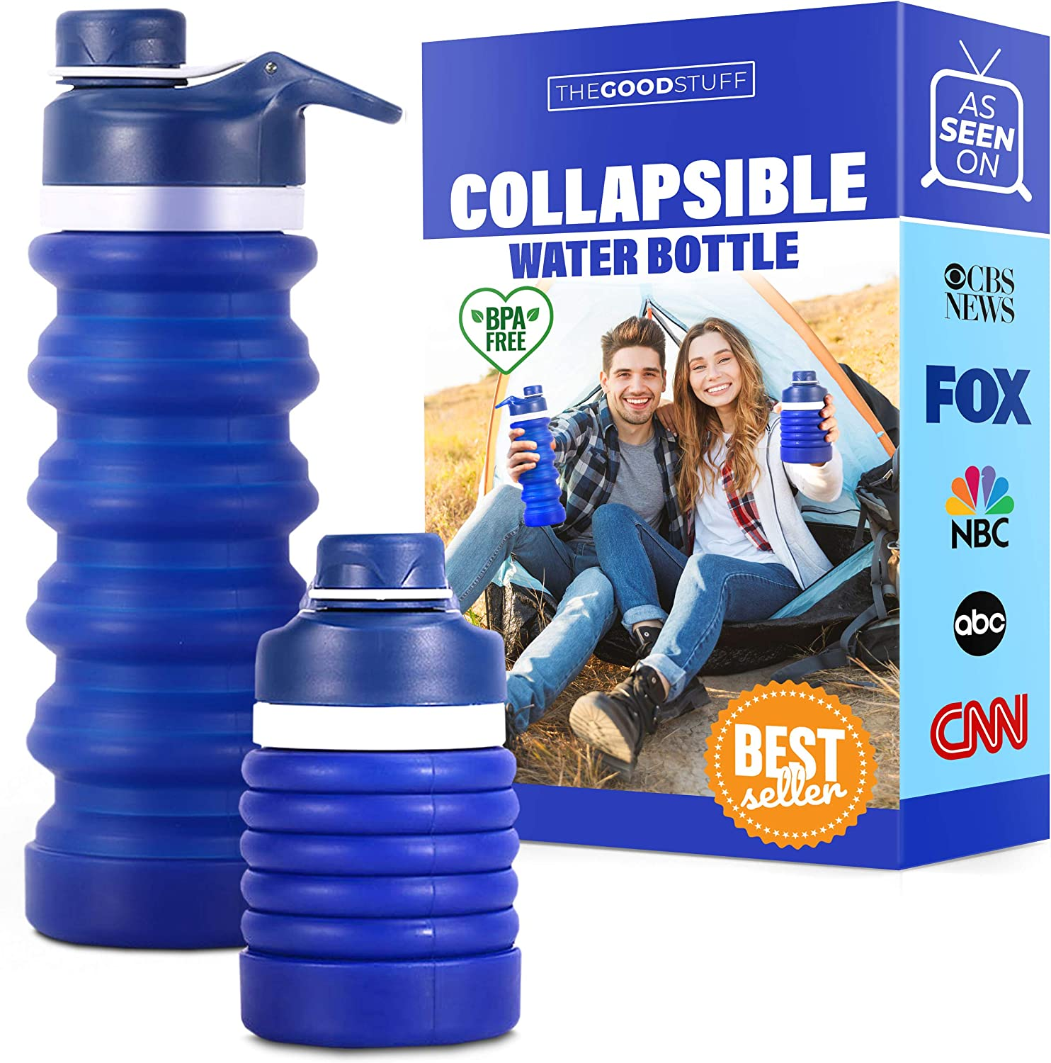 Collapsible Water Bottle for Travel: Space Saving, Lightweight, Flexible Water Bottle - BPA Free Silicone Bottle, Soft Water Bottle, Portable Foldable Water Bottle BPA Free