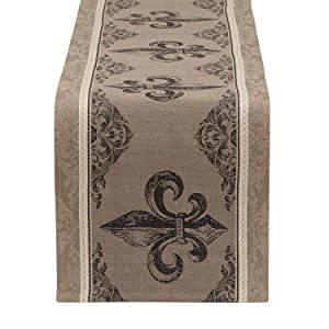 DII 100% Cotton, Machine Washable, Everyday French Stripe Kitchen Table Runner for Dinner Parties, Events, Décor Fleur De Lis 14x72,