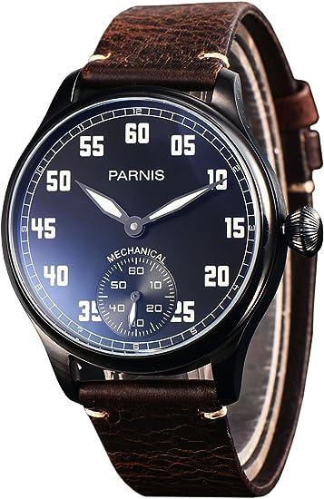 PARNIS 2148 Reloj de hombre mecánico cuerda manual PVD Acero inoxidable pulsera de reloj Seagull ST36 Cristal Mineral cebollas Corona pulsera de piel Base ...