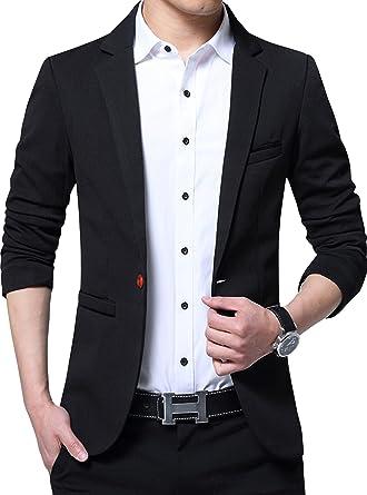 57b9778a5b3 ZITY Mens Premium Casual One Button Blazer Slim Fit Coat Jacket Black US  S Lable2XL
