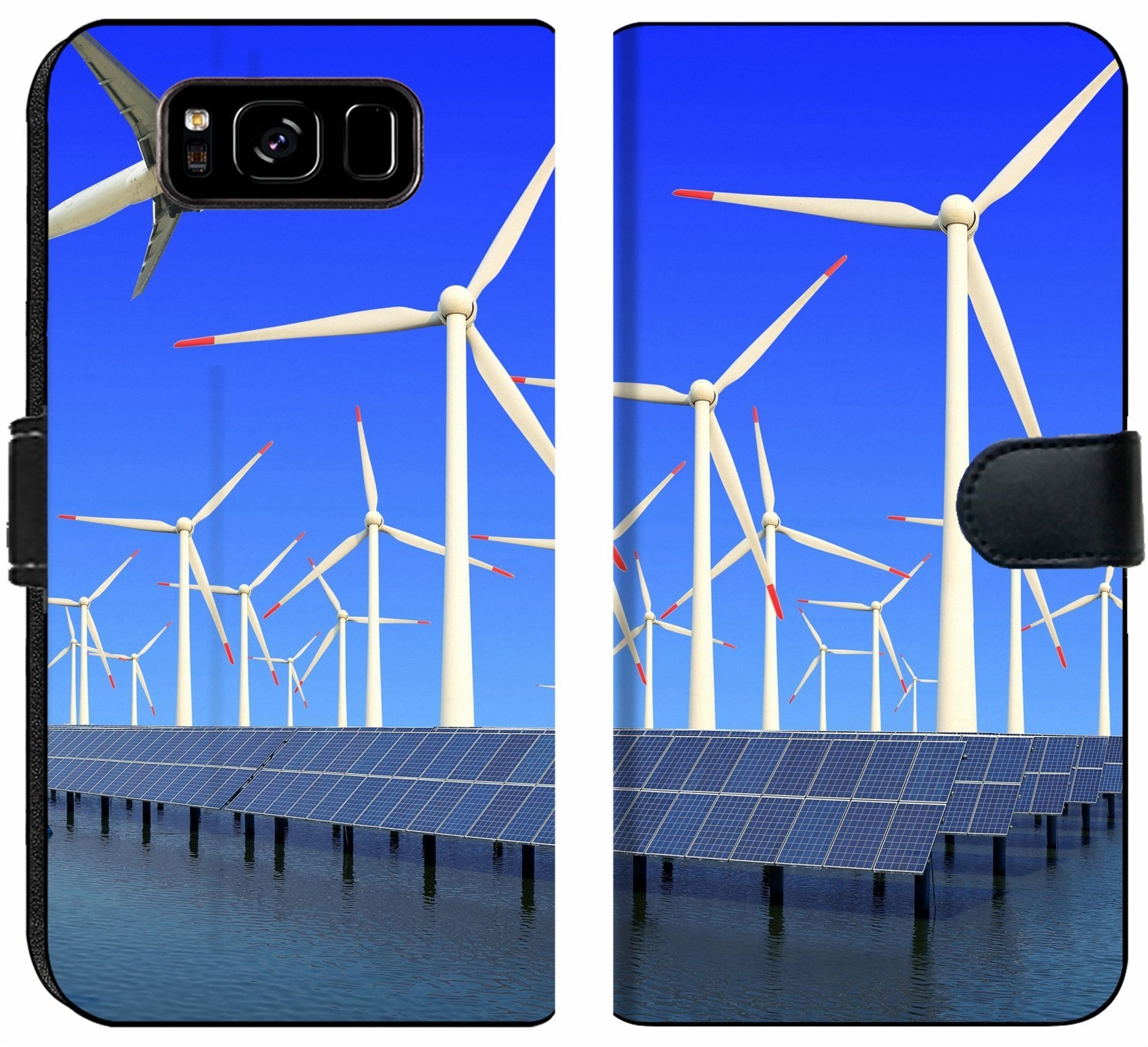 Samsung Galaxy S8 Flip Fabric Wallet Case Image ID 19576484 Aircraft is Flying in eco Power of Wind turbines and Solar Panel at c