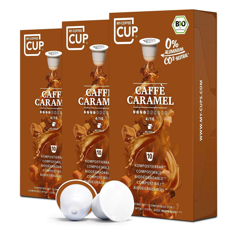 BIO Kaffeekapseln von My-CoffeeCup   Kompatibel mit Nespresso®*-Maschinen   100% kompostierbare Kapseln ohne Alu (Caffé Caramel, 30 Kapseln)