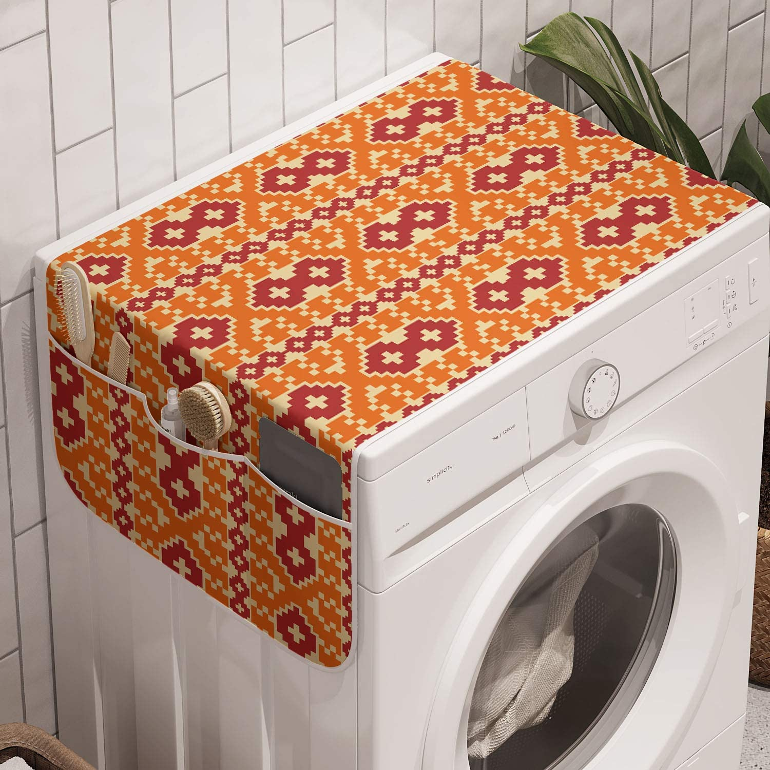 Vermilion Pale Yellow Lunarable Boho Orange Washing Machine Organizer 47 x 18.5 Traditional Arrangement with Pixel Art Classic Qualities Anti-slip Fabric Top Cover for Washer Dryer