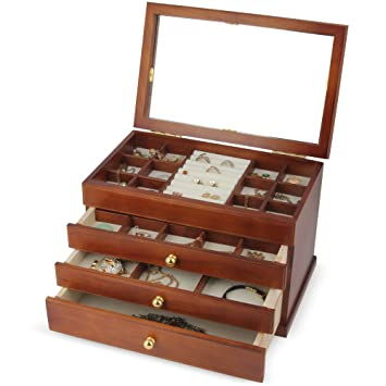 Amazon Com Kendal Real Wood Wooden Jewelry Box Case With Mirror Si