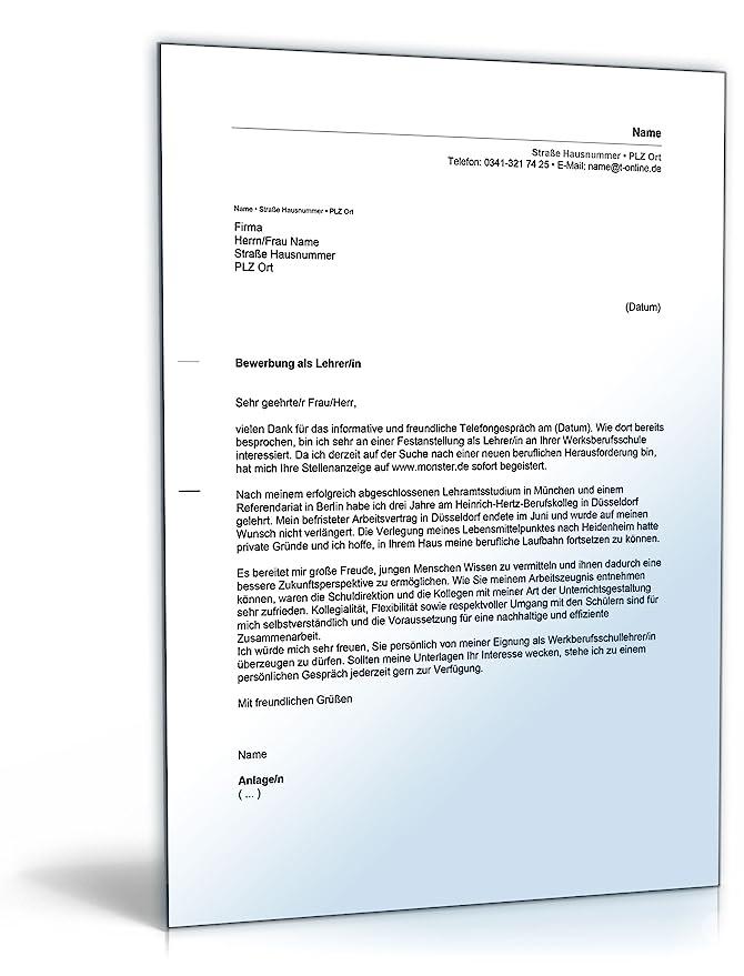 Anschreiben Bewerbung Lehrer/Lehrerin [Word Dokument]: Amazon.de ...