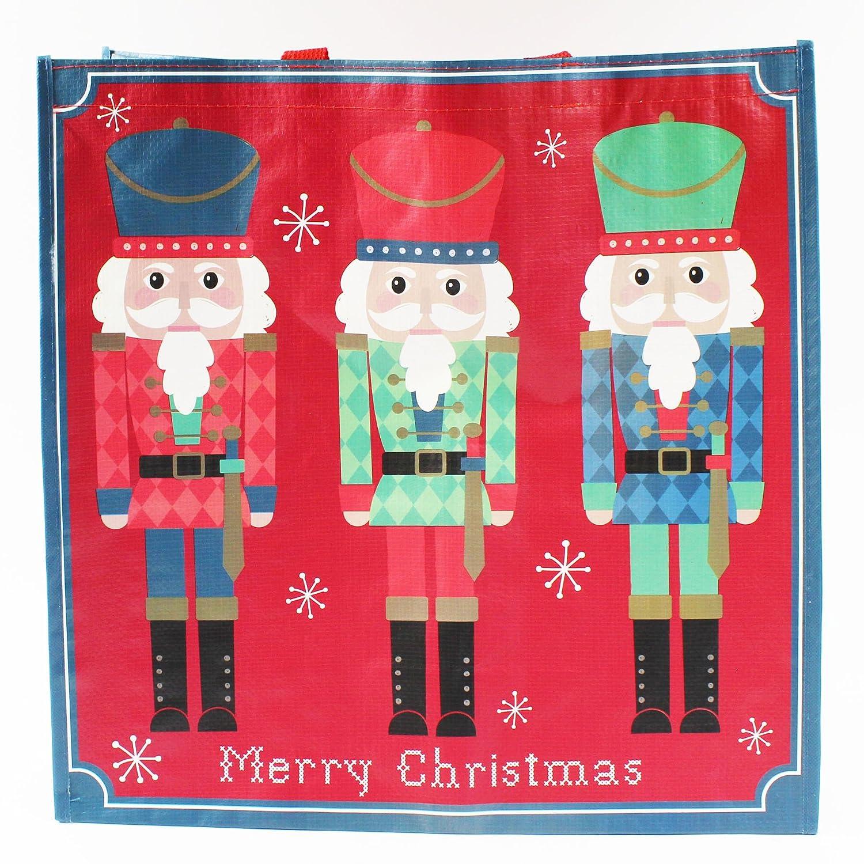 Borsa natalizia a spalla grande, resistente, per regali, con lo Schiaccianoci Card and Party Store