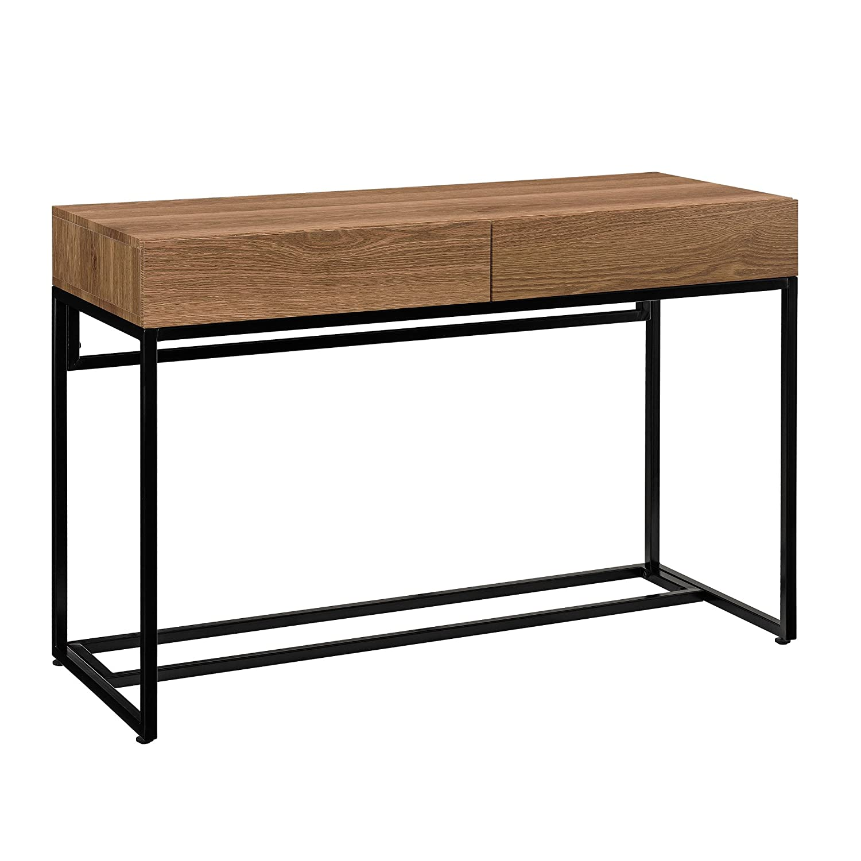 [en.casa] Stylischer Schreibtisch mit Zwei Schubladen (110x45cm) - Eichenoptik Design Konsole [en.casa]®
