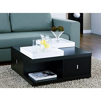 Amazoncom Space Saving Black Coffee Table with DrawersServing