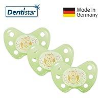Dentistar® Night Silikon-Schnuller - Größe 3, ab 14 Monaten – Nacht-Leuchtschnuller, Nuckel leuchtend, Zahnfreundlich | Standard Edition
