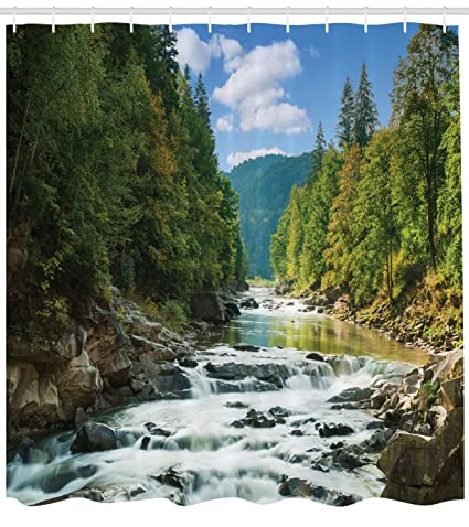 Lunarable River Shower Curtain Natural Scenic View Of Mountain With A Waterfall Among Lush