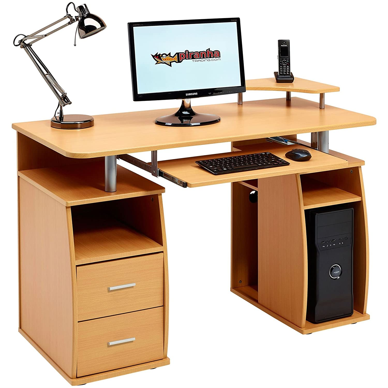 Computer Desk with Shelves, Cupboard and Drawers for Home Office in Oak Effect - Piranha Furniture Tetra PC 5o