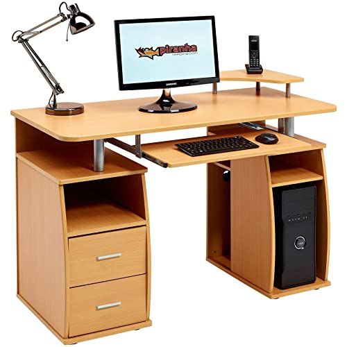 Computer Desk With Shelves, Cupboard And Drawers For Home Office In Beech  Effect   Piranha