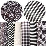 "David Angie Geometric Pattern Printed Glitter Faux Leather Sheet Assorted 6 Pcs 8"" x 13"" (20 cm x 34 cm) Black White…"