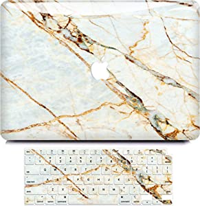 MacBook Air 13 Inch Case 2020 2019 2018 Release A2179 A1932, B BELK 3D Smooth Scratch Resistant Snap on PC Hard Case with Keyboard Cover for Mac Air 13.3 Touch ID & Retina Display, White Gold Marble