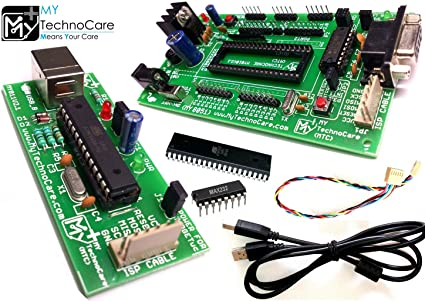 MY TechnoCare 8051 Development Board MAX232, AT89S52 Microcontroller IC +  ATMEL AVR 8051 USB ASP ISP FR4 Glass Epoxy PCB Programmer Kit for ATmega