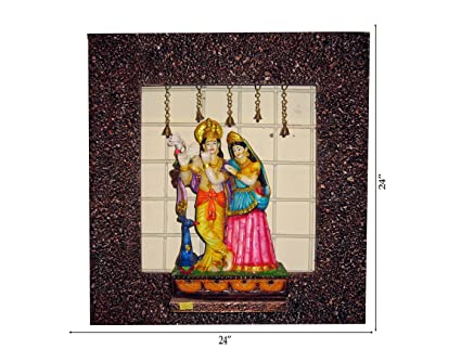 51bfa2d0c263 Buy Krafthub Radha Krishna Standing with Peacock and Turtle Doves on Stone  Studded Frame Wooden Wall Hanging (61cms x 61cms x 18cms