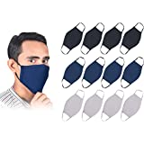 Pack Of 12 Pure Cotton Reusable Face Mask - Fabric Face Cover, Washable & Breathable Mouth Masks (4 Black,4 Blue,4 White…