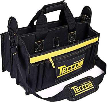 Sac a Outils, TECCPO Professional Sac Porte outils 30 cm, Stockage Fort avec Base en Caoutchouc Resistant a lUsure, Bandouliere Reglable, Pognées en