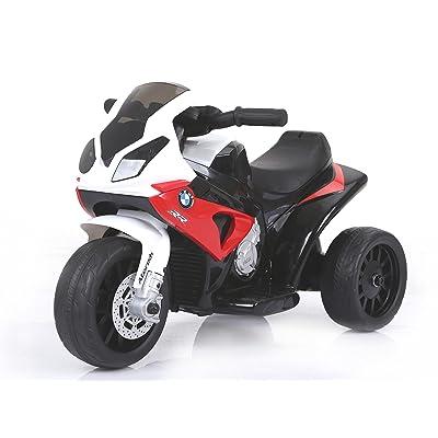 RIRICAR BMW S 1000 RR Tricycle électrique pour enfants, Moto à piles, 3 roues, sous licence, 1x moteur, batterie 6V, Rouge