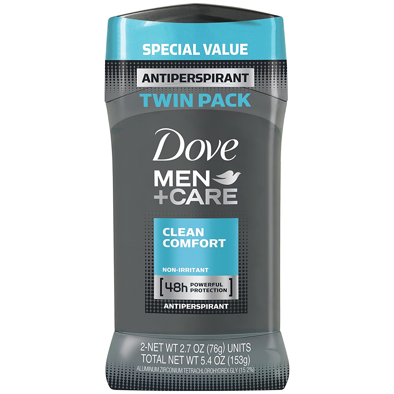 Dove Men+Care Antiperspirant Deodorant Stick, Clean Comfort 2.7 Ounce (Pack of 2), Twin Pack