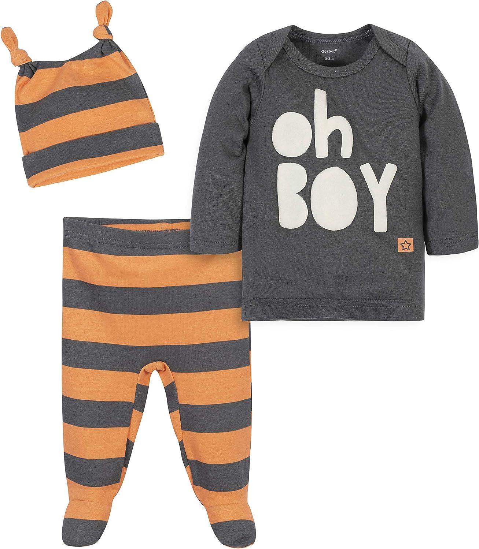 Grow by Gerber Baby Boy's Organic 3-Piece Shirt, Footed Pant, and Cap Set Pants, Ivory/Orange, Newborn