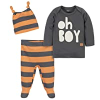 Grow by Gerber Baby Boy's Organic 3-Piece Shirt, Footed Pant, and Cap Set Pants, Ivory/Orange, 6-9 Months