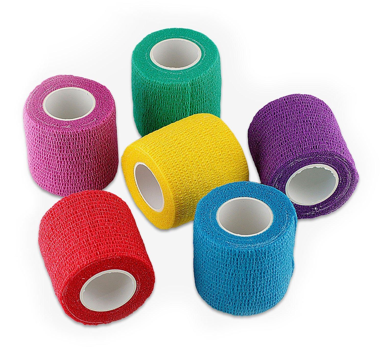 WildCow Vet Wrap 2'' Bulk Tape Dog Bandages, 6 Color Pack Pet Leg Raps