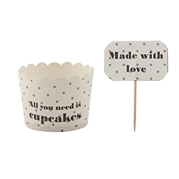 "Bloomingville 8 unidades Moldes para Cupcake/Muffin ""All You Need is Cupcakes"