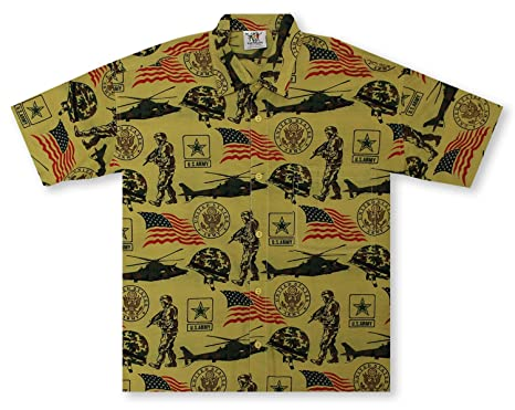 cd686088 Rum Reggae U.S. Army Hawaiian Shirt at Amazon Men's Clothing store: