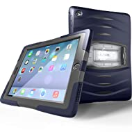 UZBL iPad 9.7 Case 2018/2017, Heavy Duty [Shockwave] Full-Body Rugged Protective Case with Built-in Screen Protector and Removable Stand for Apple iPad 5th / 6th Gen, Navy