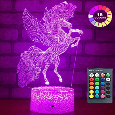 Menzee Unicorn Gifts 3D Night Lights for Kids,16 Changing Color with Remote & Smart Touch 7 Colors 3D Led Illusion Lamp Unicorn Toys Girls Gifts: Home & Kitchen