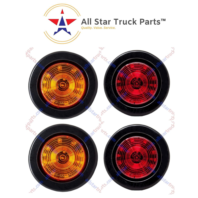"5 Incandescent 2.5/"" Amber Truck Trailer Clearance Side Marker Lights"