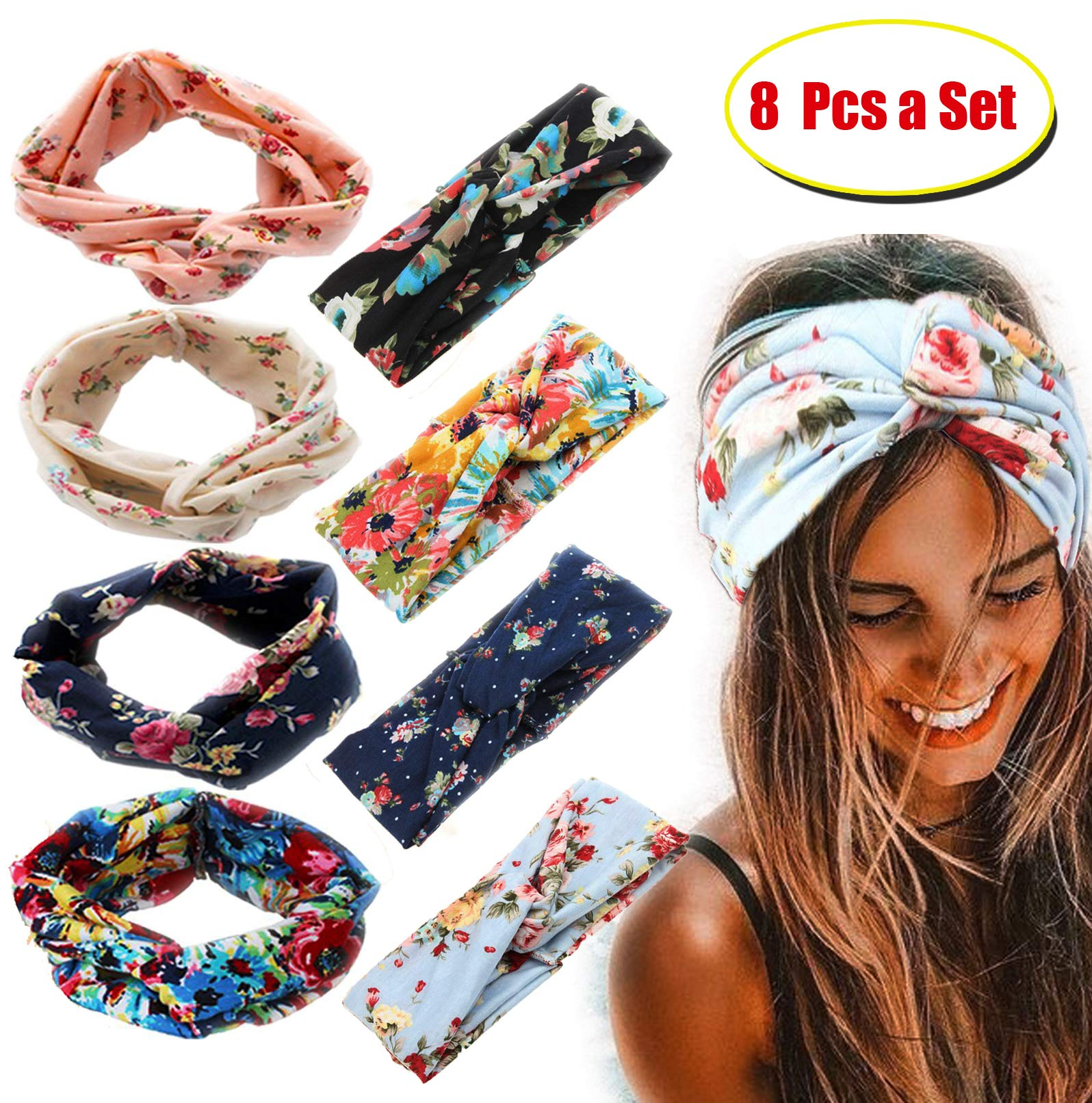 FIBO STEEL 8 Pcs Headbands for Women Girls Wide Boho Flower Knotted Yoga Head Wrap Hair Band