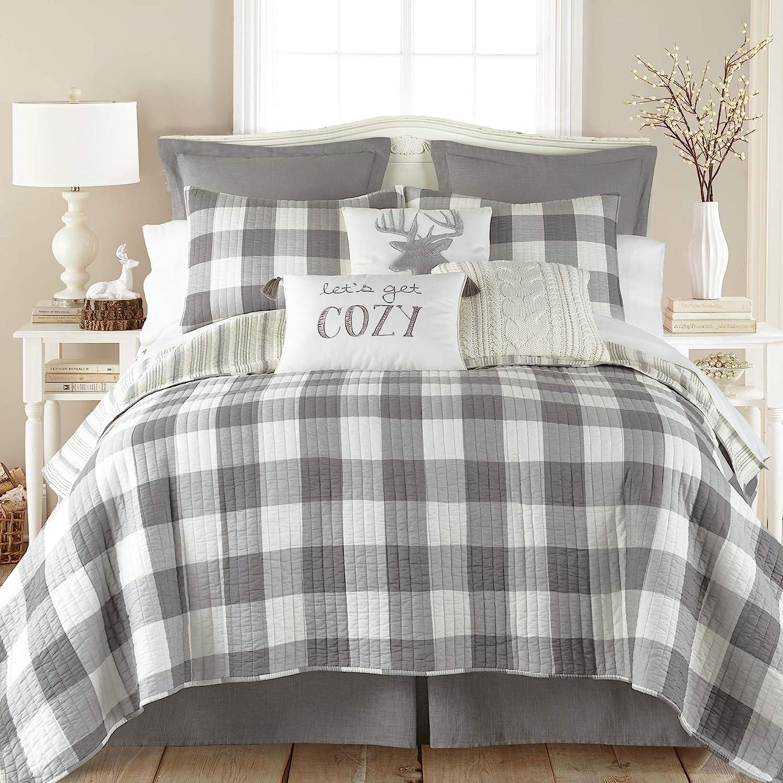 Levtex home Camden F/Q Quilt Set, Farmhouse, 100% Cotton, Grey, Ivory