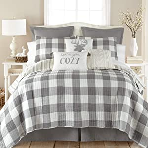 Levtex home Camden King Quilt Set, Farmhouse, 100% Cotton, Grey, Ivory
